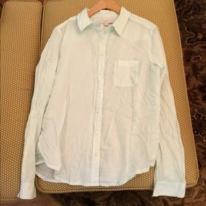 Mint green linen button up Loft